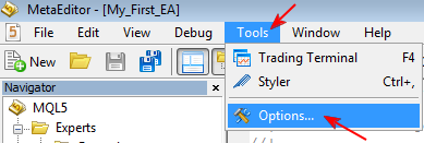 Figure 8. Setting Debugging options