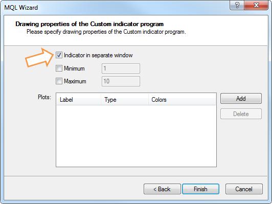"""Fig. 9. Escolha a opção """"indicador em janela separada"""""""