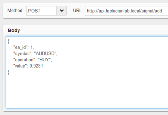 Figure 3. Sending a POST signal/add request to http://api.laplacianlab.local