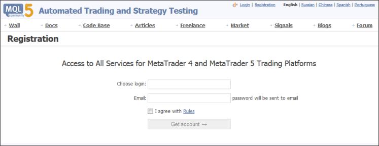 Crear una cuenta en MQL5.com