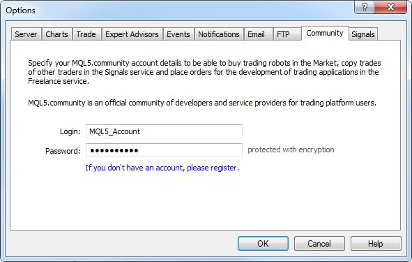 Introducir los detalles de su cuenta MQL5.com directamente en el terminal