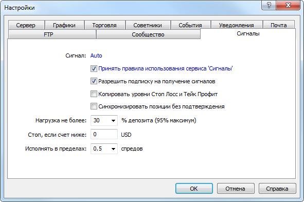 Настройки торговых сигналов в MetaTrader 5