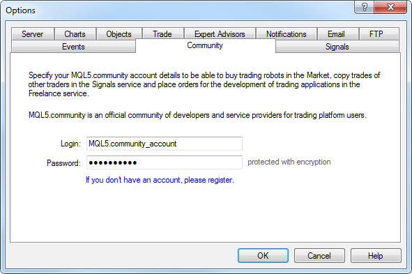 Configuring connection to MQL5.community in the trading terminal