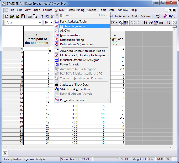 Import data of the example to the program STATISTICA