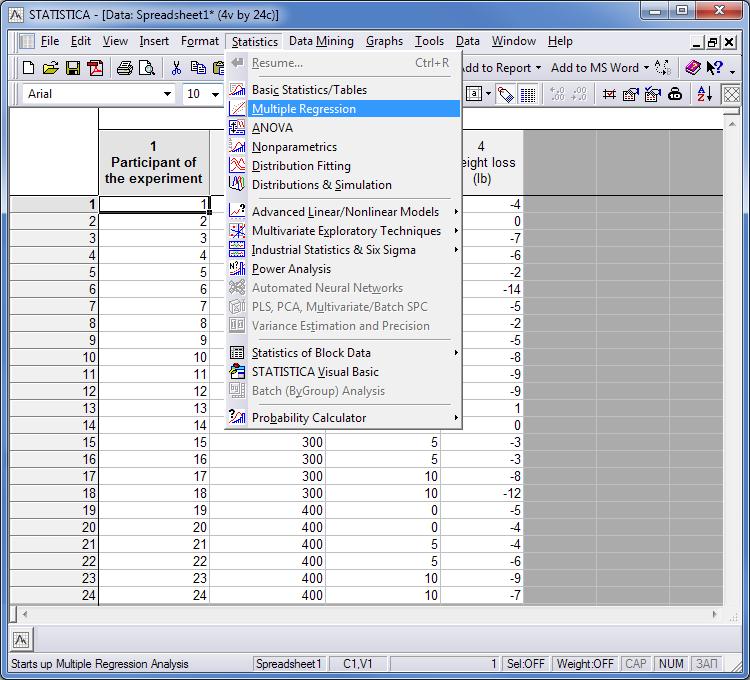 Fig 1. Importación de los datos del ejemplo al programa STATISTICA