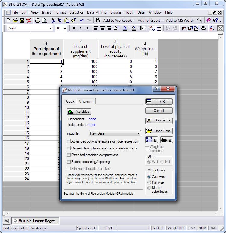 Multiple analysis parameters screen