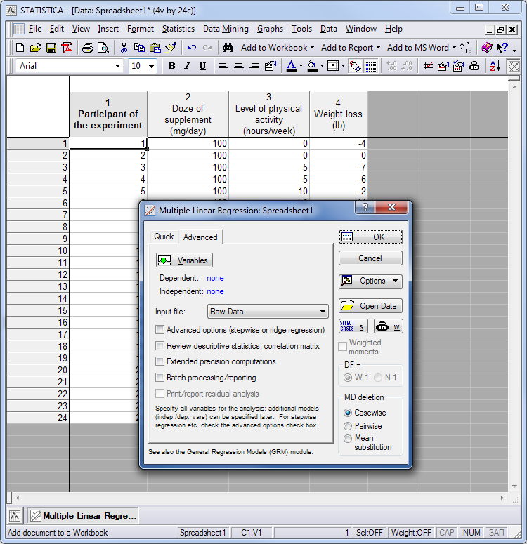 Fig 2. Ventana de elección de parámetros para el análisis múltiple