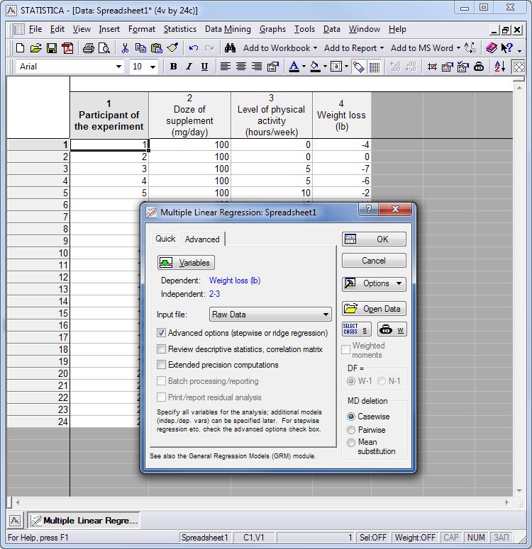Fig. 4. Elección de los parámetros para el análisis múltiple