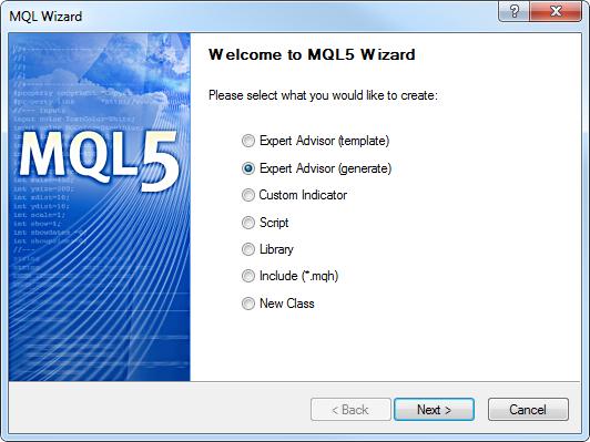 Fig. 11. Generar un asesor con ayuda del Asistente MQL5