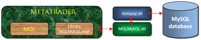 The scheme of MQL and MySQL interaction
