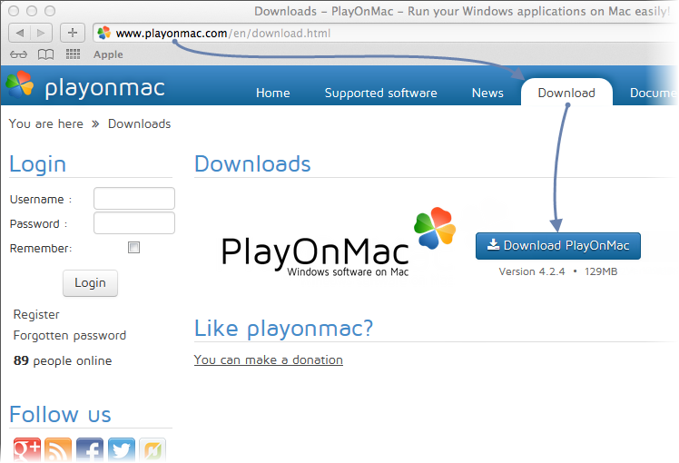 Downloading PlayOnMac