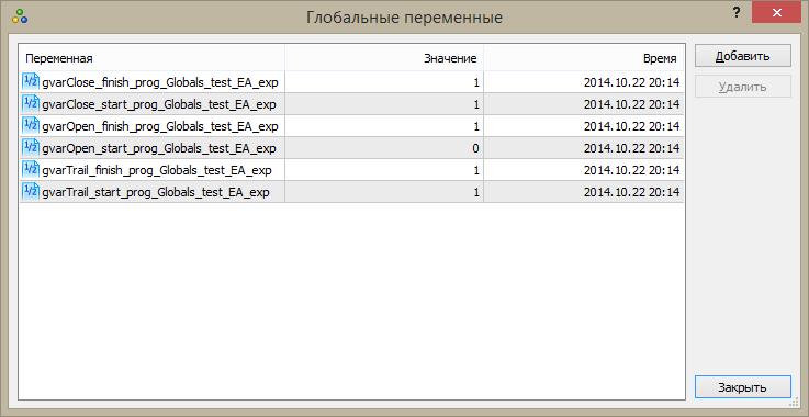 """Рис.9 Глобальные переменные для советника """"Globals_test_EA"""""""