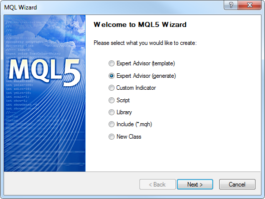 Fig. 11. Generating an Expert using the MQL5 WIzard
