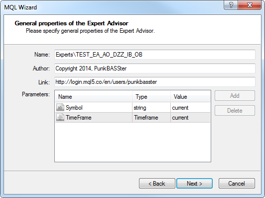 Fig. 12. Common parameters of the Expert Advisor