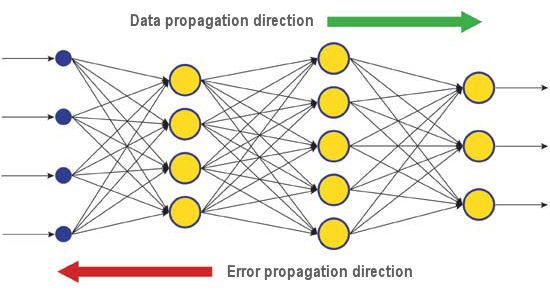 Fig. 6. The pattern of data and error diffusion in a network when learning through backpropagation