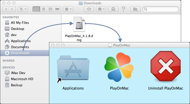 Запуск установки PlayOnMac