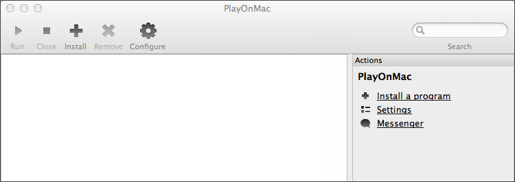Главное окно PlayOnMac