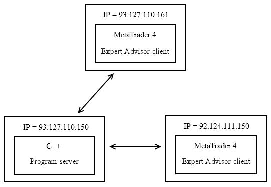 Imagen 2. Servidor del programa C++ y Cliente de Asesor Experto de MetaTrader 4