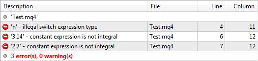 "图3. 错误""illegal switch expression type(非法switch表达式类型)""和""constant expression is not integral(常量表达式不是整数)"""