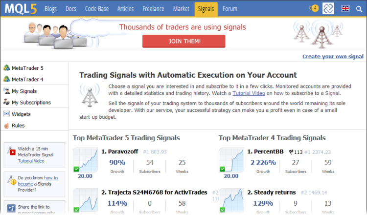 La lista di MetaTrader 4 e MetaTrader 5 segnali di trading su MQL5.com