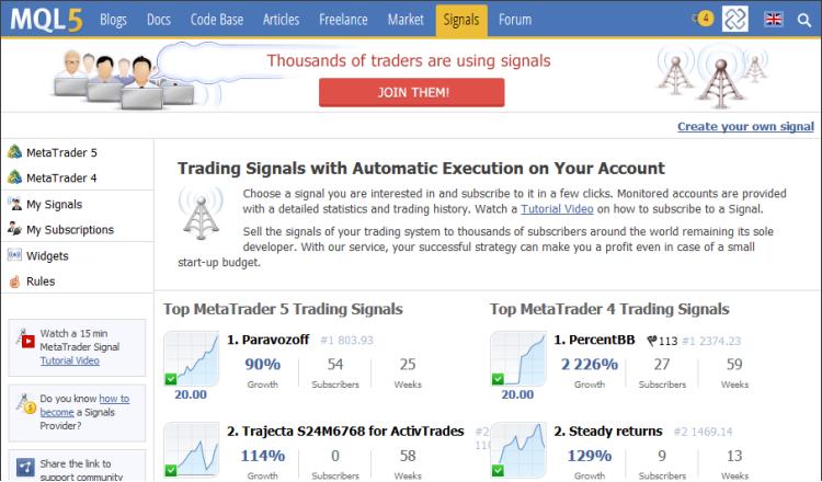 Lista de sinais de negociação MetaTrader 4 e MetaTrader 5 no MQL5.com