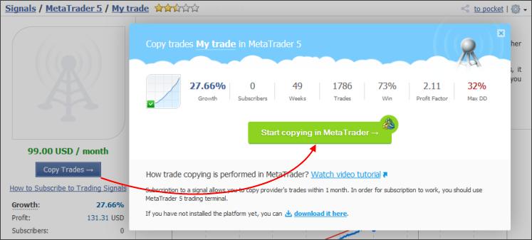 Assine sinais de negociação do MetaTrader 4 ou MetaTrader 5