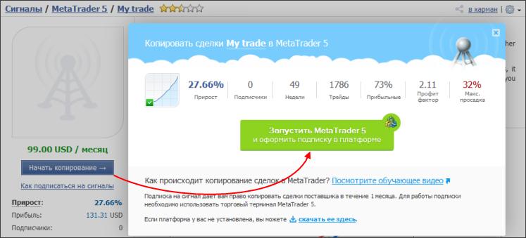 Подписка на Торговые Сигналы MetaTrader 4 и MetaTrader 5 на MQL5.com