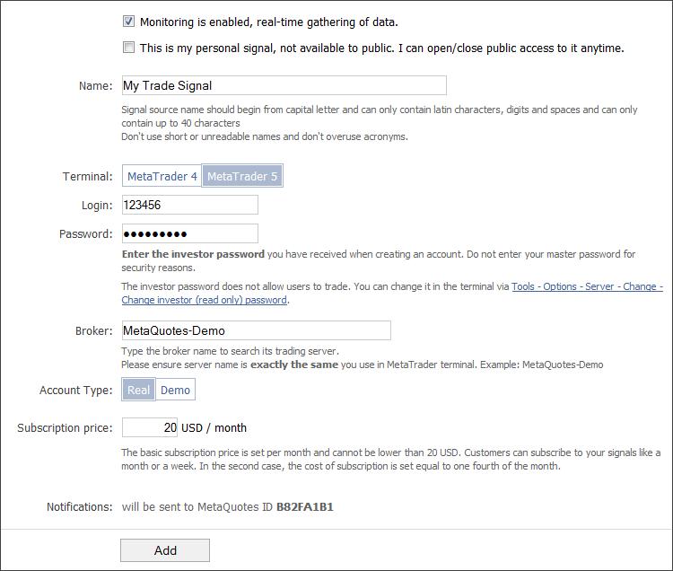 Registro como Suministrador de Señales en MQL5.com