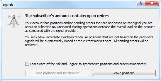 Señales comerciales MetaTrader 4 y MetaTrader 5: la sincronización inicial no tiene lugar, dado que el suministrador tiene posiciones abiertas