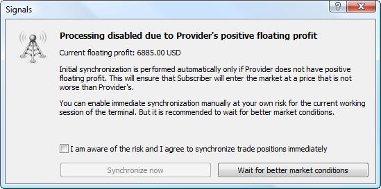 Señales comerciales MetaTrader 4 y MetaTrader 5: la sincronización inicial no tiene lugar, dado que el beneficio flotante del suministrador es positivo