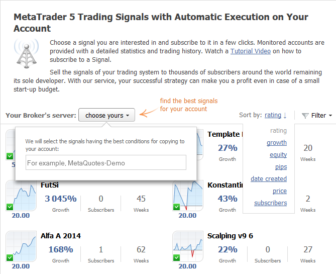 Fig.2. Selecting a broker and sorting trading signals