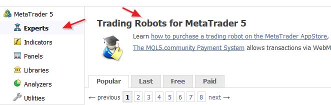 图5。选择交易机器人子类