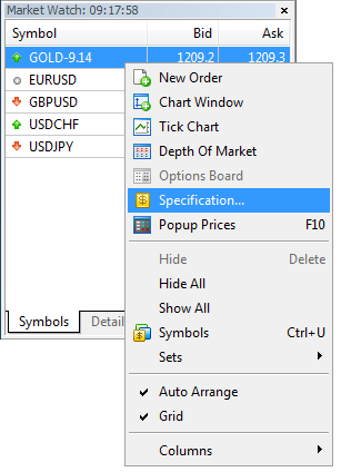Figure 9. Access to instrument specifications through MetaTrader 5 menu