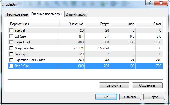 Входные параметры для тестирования