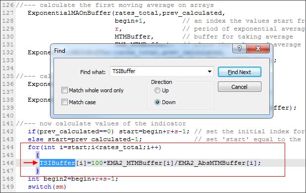 TSIBuffer 计算值的最后找到位置(红色箭头)。红框标注为执行计算循环的位置。
