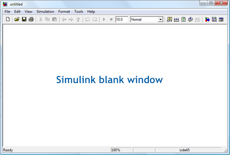 Figure 3. The Simulink blank window