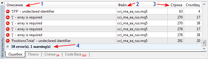 Рисунок 1. Ошибки при компиляции кода советника