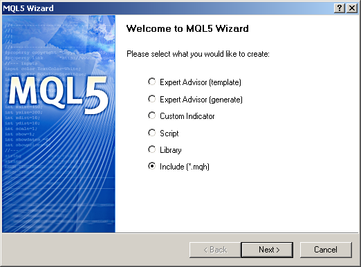 Figure 2. Create an include file using MQL5 Wizard.