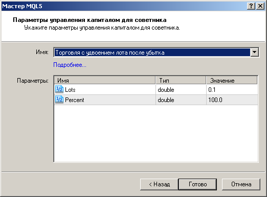 Рисунок 6. Входные параметры созданного манименеджера в Мастере MQL5