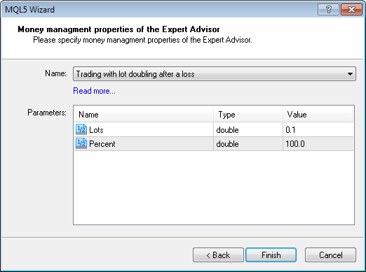Figure 6. Input parameters of the created money-manager in the MQL5 Wizard