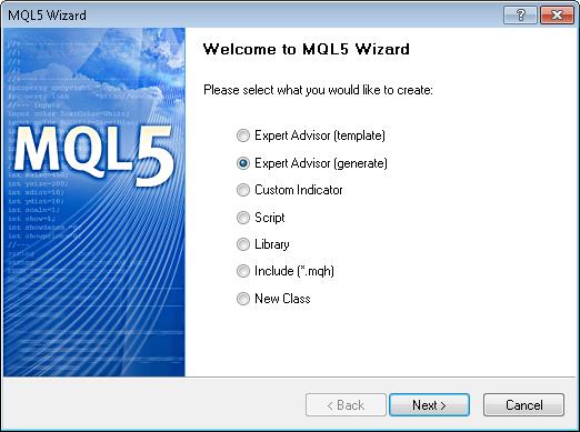Figura 10. Criação de diálogo Expert Advisor pronto em MQL5 Assistente