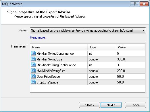 Figura 13. Parâmetros de entrada do módulo de sinais do mercado