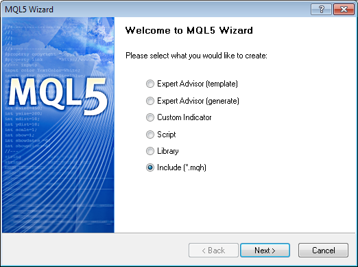 Figure 2. Create an include file using MQL5 Wizard