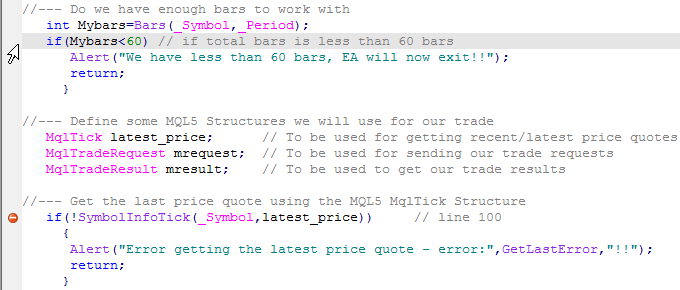 图 12. 查看错误行号以前的代码行以识别错误