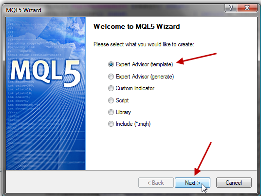 Ein neues MQL5-Dokument aufrufen