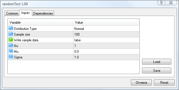 Figure 5. Input parameters of the randomTest.mq5 script