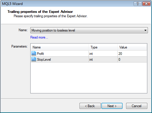 Figure 6. The input parameters of the created module of managing open positions in the MQL5 Wizard.