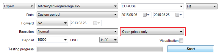 "Fig. 21. Selecting the ""Open prices only"" mode"