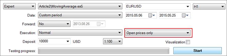 """Fig. 21. Seleccionar el modo del trading """"Sólo precios de apertura"""""""
