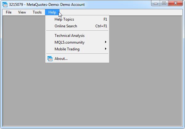 Fig. 1. Main menu in the MetaTrader 5 terminal